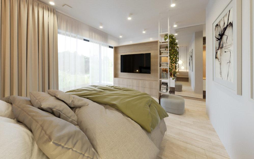 Interiér ložnice s šatnou v rodinném domě Beroun
