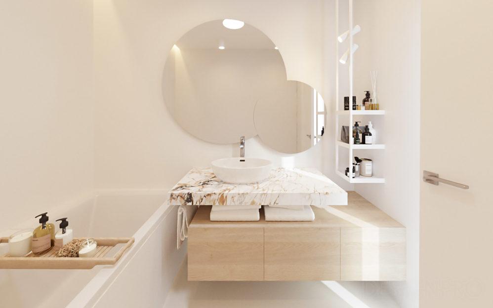 Interiér koupelny v rodinném domě Beroun