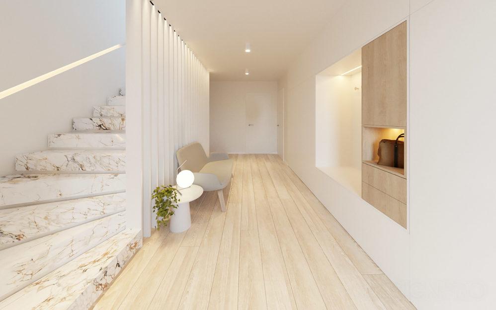 Interiér vstupní chodby se schodištěm v rodinném domě Beroun