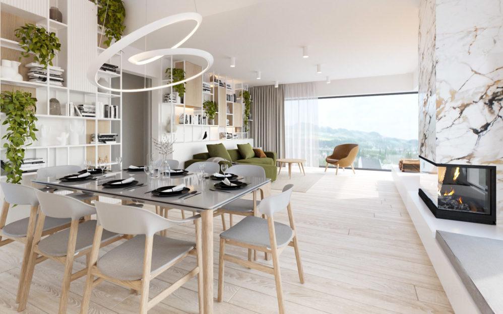 Interiér obývacího pokoje s kuchyní v rodinném domě Beroun