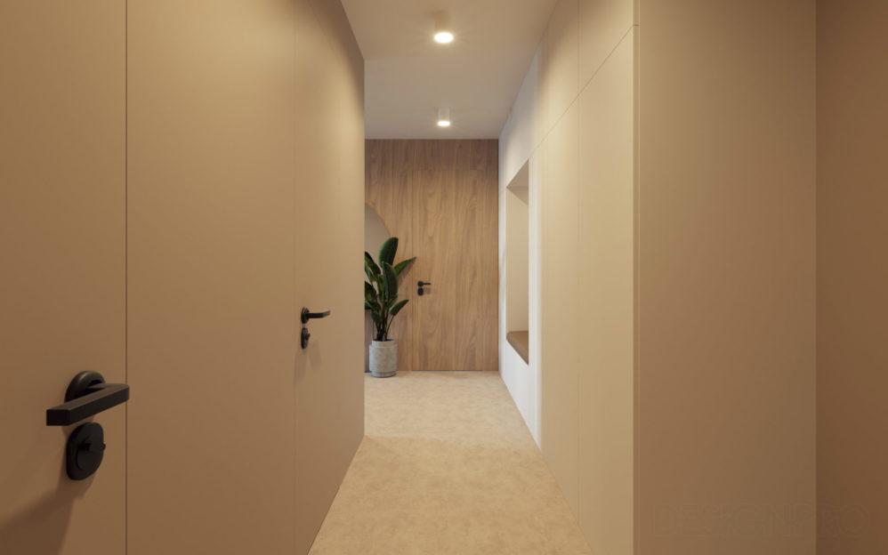 Interiér chodby v bytovém domě v Libni