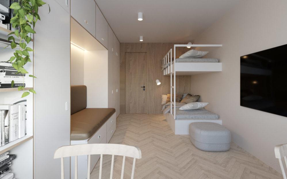 Interiér dětského pokoje v bytovém domě v Libni