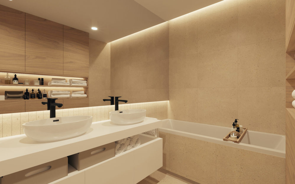 Interiér koupelny v bytovém domě v Libni
