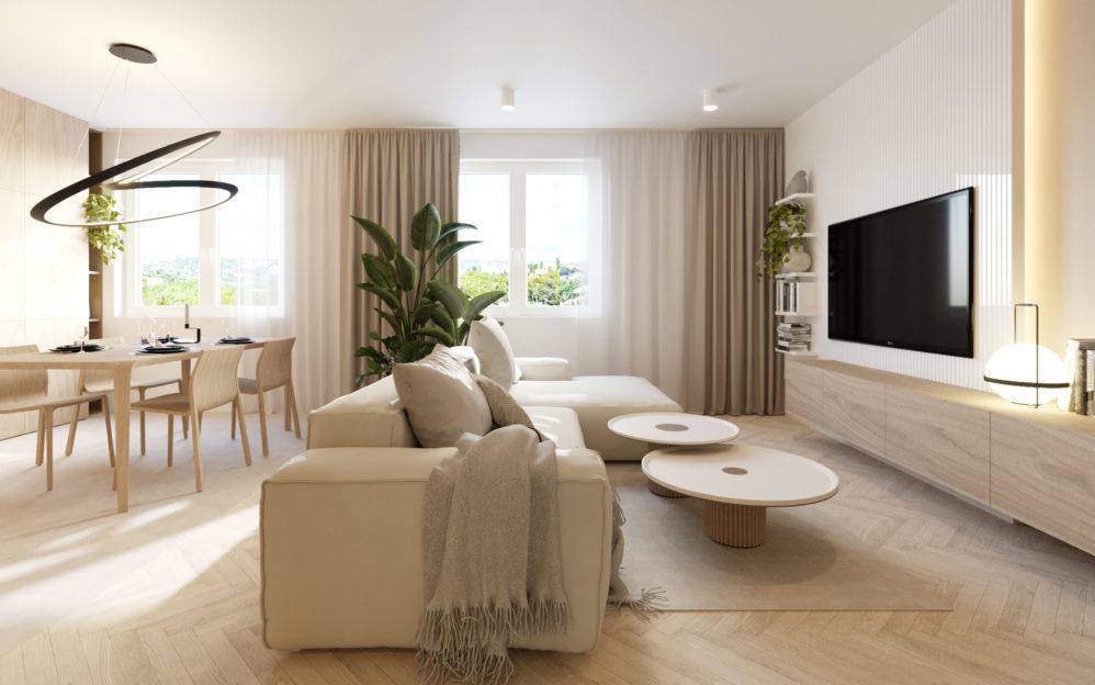 Interiér obývacího pokoje s kuchyní v bytovém domě v Libni
