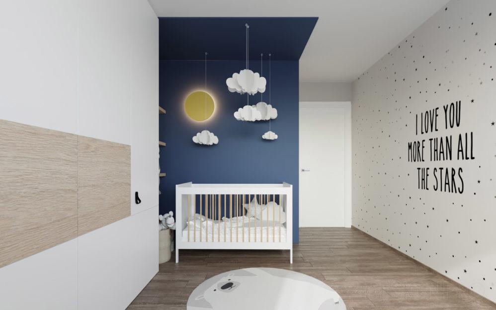 Návrh interiéru dětského pokoje pro malé dítě