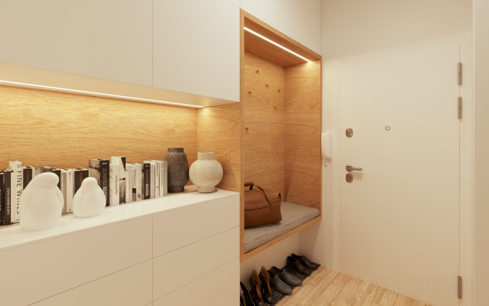 Interiér obývacího pokoje s kuchyní v bytě v projektu Modřanský Háj