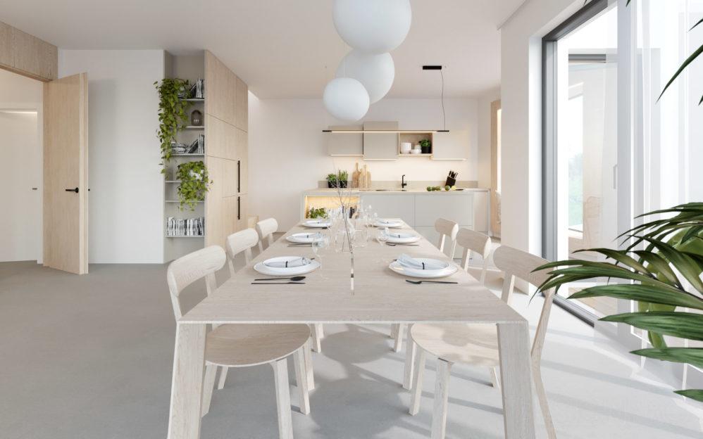 Interiér obývacího pokoje s kuchyní v bytě v projektu Zátiší Rokytka